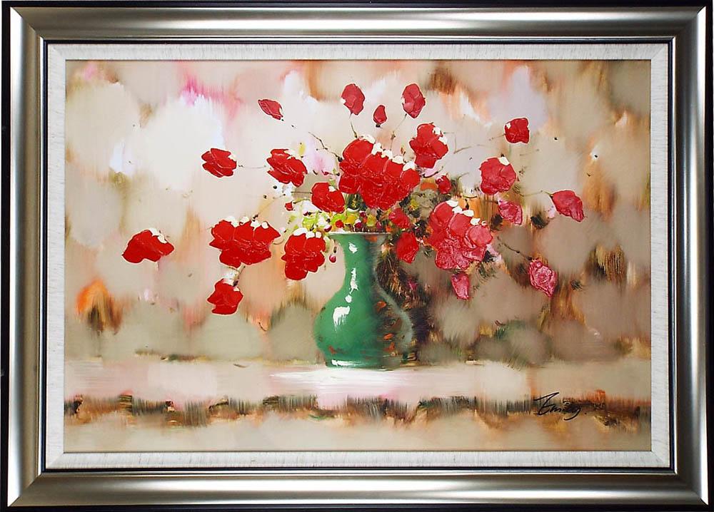 花の絵 絵画 油絵 アートパネル開業祝い 開院祝い「赤花」額入り油絵20号(額約75cm×65cm)おしゃれな壁掛け油絵の高級感がそのもの。玄関、部屋とリビングに飾るおすすめ人気インテリア絵画!【完全手書き油彩画/送料無料】