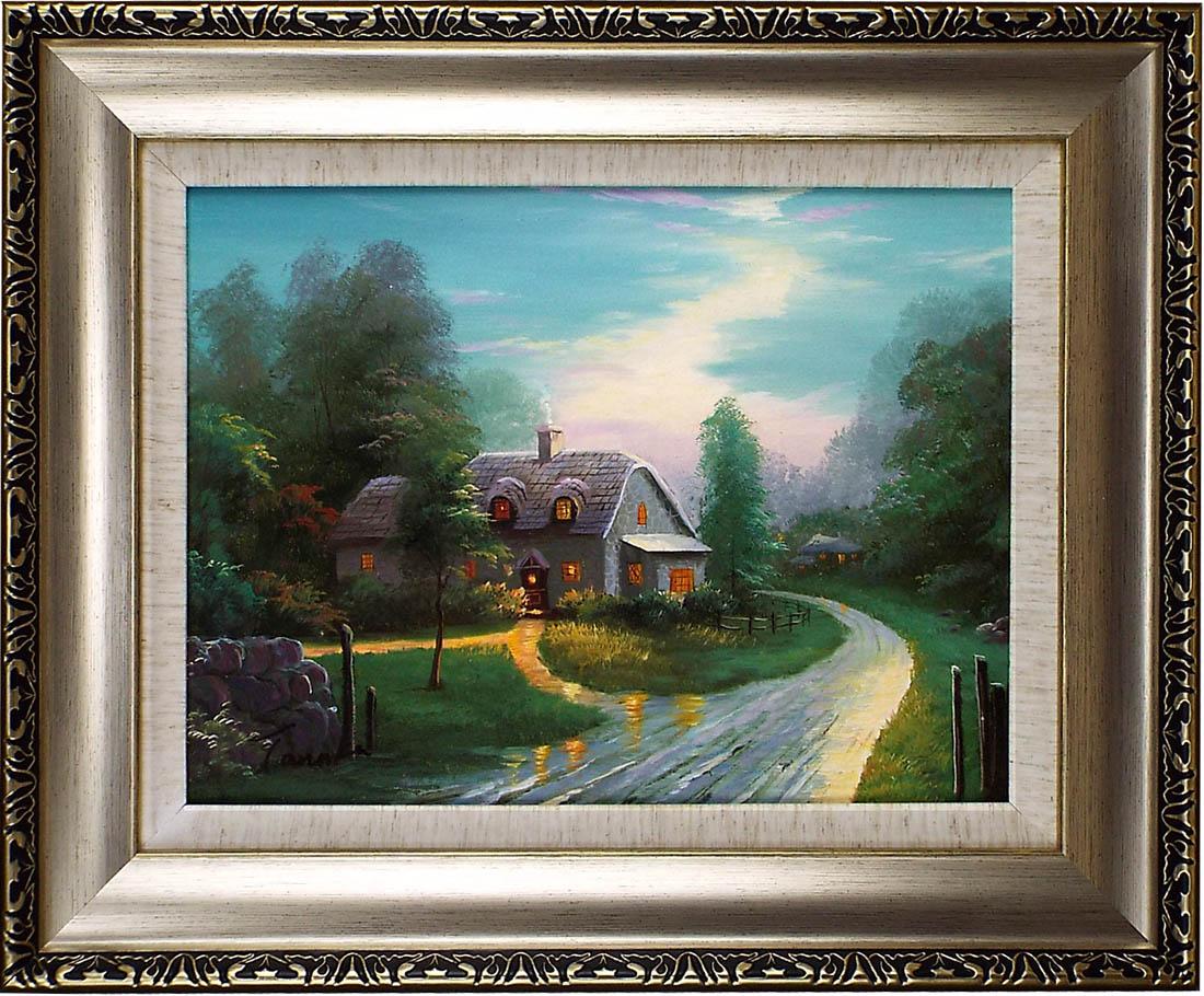 風景の絵 絵画 油絵 アートパネル開業祝い 開院祝い「森の小屋の道」額入り油絵20号(額約75cm×65cm)おしゃれな壁掛け油絵の高級感がそのもの。玄関、部屋とリビングに飾るおすすめ人気インテリア絵画!【完全手書き油彩画/送料無料】