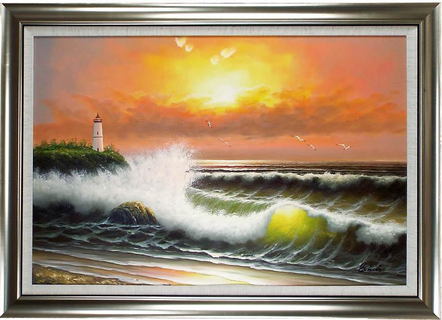 海の絵 絵画 油絵 アートパネル開業祝い 開院祝い「日出」額入り油絵20号(額約75cm×65cm)おしゃれな壁掛け油絵の高級感がそのもの。玄関、部屋とリビングに飾るおすすめ人気インテリア絵画!【完全手書き油彩画/送料無料】
