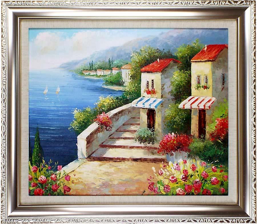 海の絵 絵画 油絵 アートパネル開業祝い 開院祝い「湖畔の花園」額入り油絵20号(額約75cm×65cm)おしゃれな壁掛け油絵の高級感がそのもの。玄関、部屋とリビングに飾るおすすめ人気インテリア絵画!【完全手書き油彩画/送料無料】
