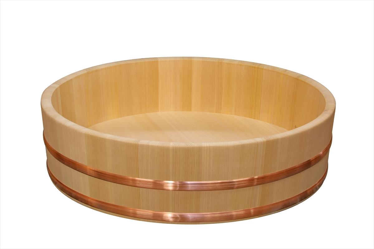 【国産品/国産さわら材】【銅(またはステンレス)タガから選べます】 飯台 (60センチ 約4升まで用) 木工職人の手作り 安心商品