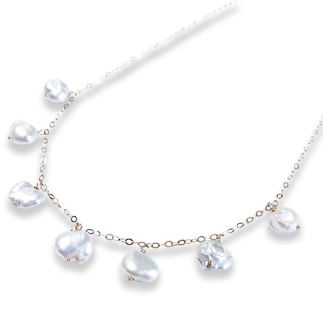 華奢デザイン 真珠 直輸入品激安 淡水パールK14gfチェーンネックレス お得クーポン発行中