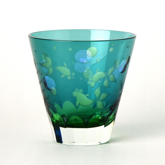 江戸硝子 ロックグラス 金魚 切子グラス