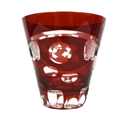 江戸硝子/ロックグラス/つきみ 赤