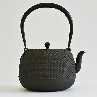 鉄瓶 棗形霰鉄分/やかん/湯沸/茶道