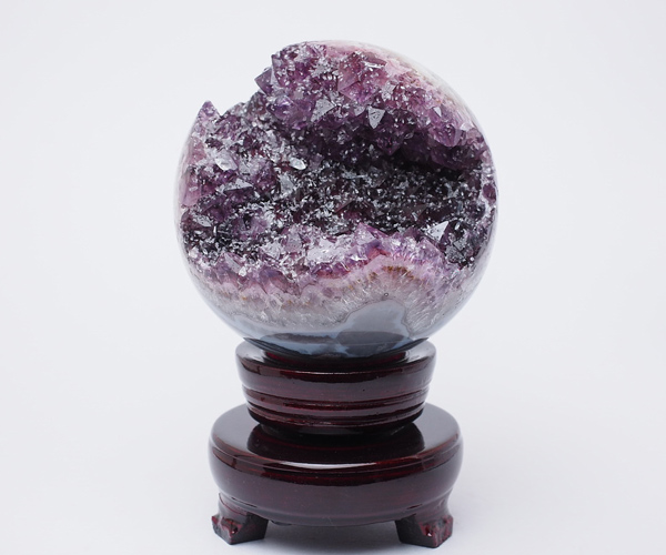 アメジスト 丸玉 105mm1411g ウルグアイ産 台座付き紫水晶 置物 一点もの