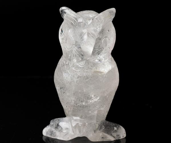 手彫り天然水晶 梟 フウロウ 一点もの高さ14cm 水晶 不苦労 置物 天然石