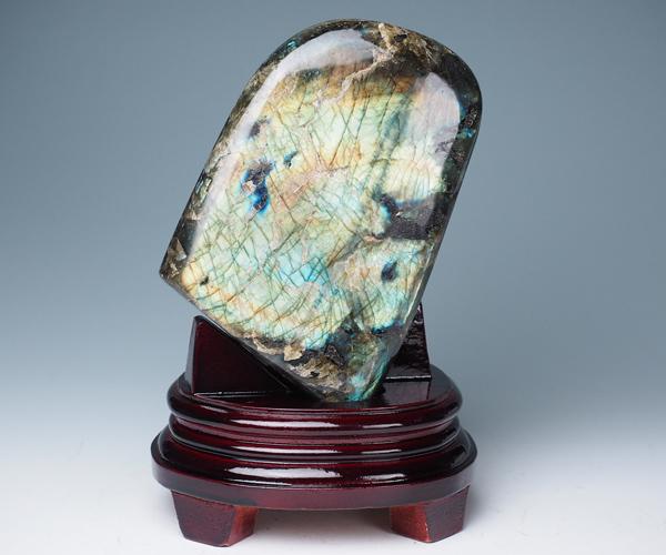 ラブラドライト 原石 1840g 台座付き 全研磨 高品質 マダガスカル産