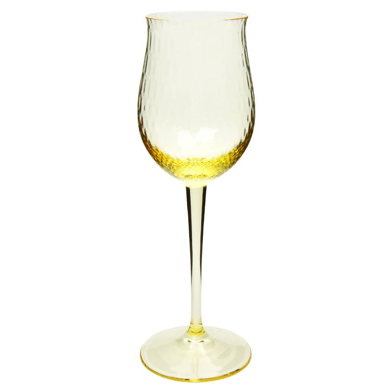 【マイセン公式/日本総代理店】 マイセングラス 波の戯れ 白ワイングラス(イエロー)