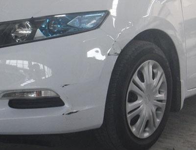 国産車修理【中破】ホンダインサイト修理内容:左フロント部 鈑金・塗装修理修理工賃ポイント10倍
