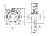 旭精工 ステンレスシリーズ印ろう付き丸フランジ形ユニット MUCFC208VN,Y (カバーなし)