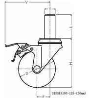 ハンマーキャスター 315SK-UB125 ウレタン