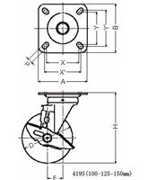 ハンマーキャスター 419S-UB200 ウレタン車 ストッパー付き