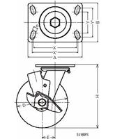 ハンマーキャスター 519BPS-CR200 ゴム車 ストッパー付
