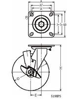 ハンマーキャスター 519HPS-CU200 ウレタン車 ストッパー付