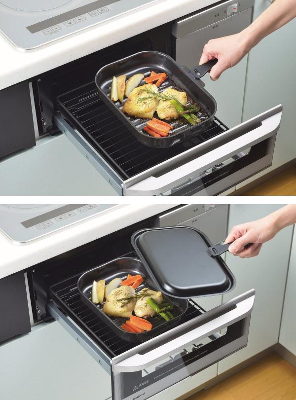 パール金属:ラクッキング 鉄製蓋付角型オール熱源対応グリルパン/HB-1000