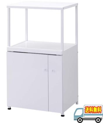 【メーカー直送】【代引不可】エムケー精工:組み立て式レンジ台(6kg米びつ付)FineKitchen(ホワイト)/CA-006W