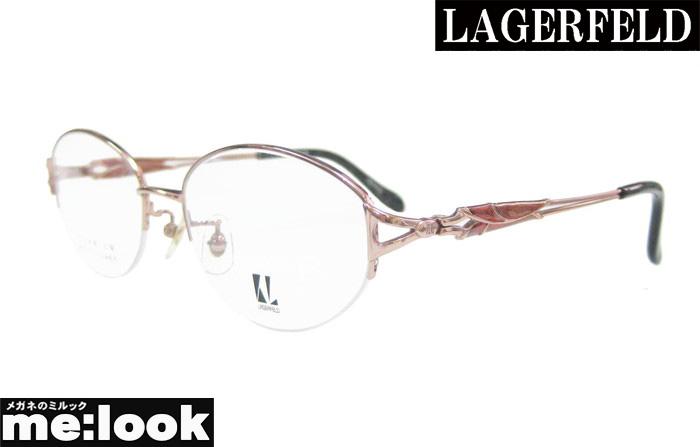 LAGERFELD ラガーフェルド レディース純国産 チタン婦人 レディース眼鏡 メガネ フレーム88-0108-02 サイズ53 度付可オレンジ
