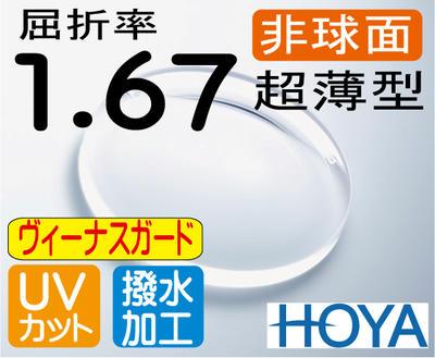 HOYA 非球面1.67超薄型レンズUVカット、超撥水傷に最も強いヴィーナスガード(2枚価格) レンズ交換のみでもOK