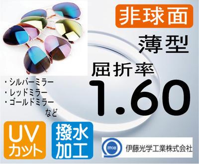 伊藤光学度付きミラーレンズ薄型 非球面1.60レンズ カラー選択可 UV、超撥水加工付(2枚価格) レンズ交換のみでもOK