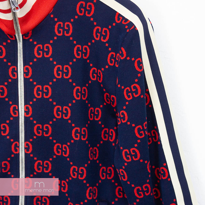 ed0a45876 ... GUCCI GG Jacquard Jacket 496919-X9L13 Gucci GG jacquard jacket side  line truck jacket navy ...