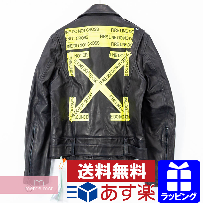 b91fc2d68 OFF-WHITE 2018SS Firetape Leather Biker Jacket off-white fire tape leather  bikie jacket leather jacket riders back logo black size M present gift