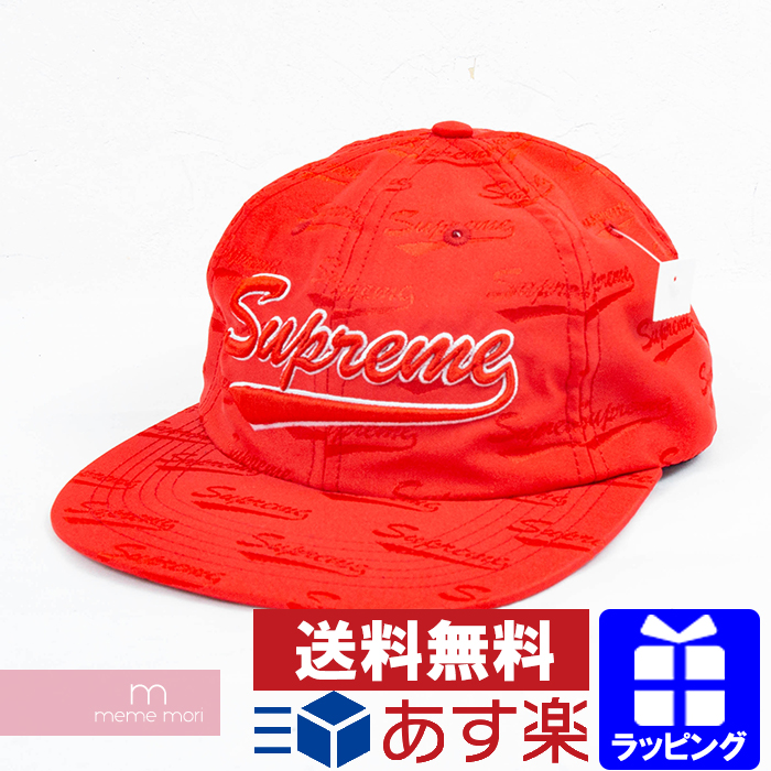 Supreme 2019SS Jacquard Script 6-Panel Cap シュプリーム ジャカードスクリプト6パネルキャップ 総柄 帽子 レッド プレゼント ギフト【190721】【新古品】