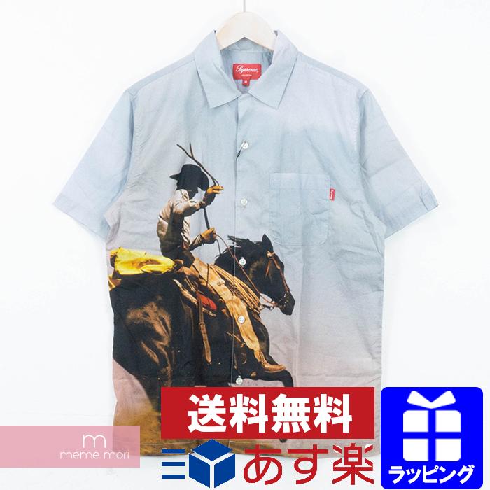 Supreme 2017SS Cowboy S/S Shirt シュプリーム カウボーイ半袖シャツ ブルー サイズM プレゼント ギフト【190604】【中古-B】
