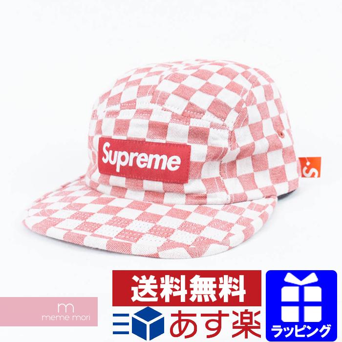 Supreme 2018SS Checkerboard Camp Cap シュプリーム チェッカーボードキャンプキャップ 帽子 レッド×ホワイト プレゼント ギフト【190224】【新古品】