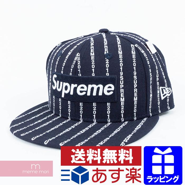 Supreme×New Era 2019SS Text Stripe New Era Cap シュプリーム×ニューエラ テキストストライプニューエラキャップ 帽子 ネイビー サイズ7 1/2(59.6cm) プレゼント ギフト【200329】【新古品】