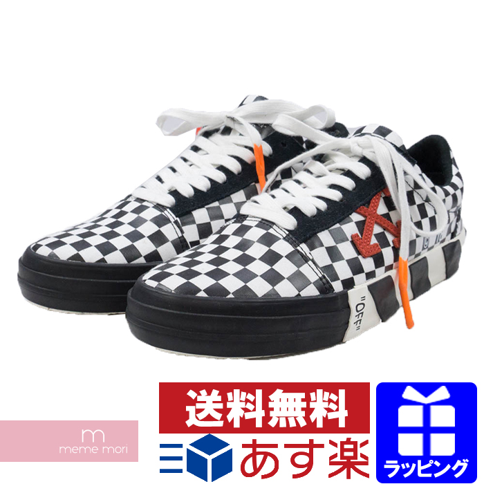 0d9d2c4fe00 OFF-WHITE 2018SS VULC LOW TOP SNEAKER off-white checker pattern sneakers  shoes shoes black X white size 42