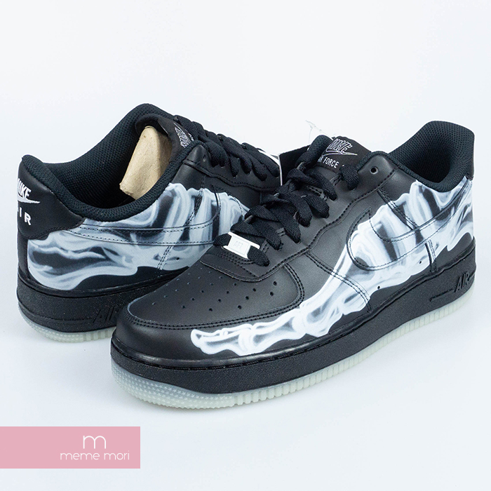 NIKE 2019AW AIR FORCE 1 07 QS Black Skeleton BQ7541 001 Nike air force 1 07 black skeleton low frequency cut sneakers black size US9.5(27.5cm) present