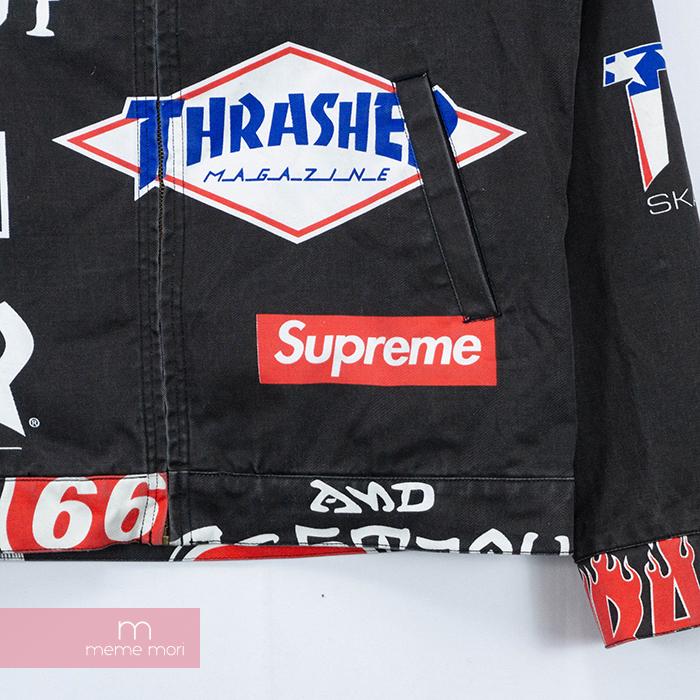 Supreme×THRASHER 2015SS Work Jacket シュプリーム×スラッシャー ワークジャケット 総柄ロゴブルゾン USED加工 ブラック サイズM 200212htQCsdrx