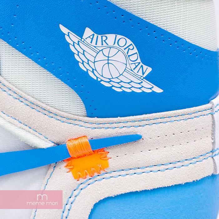 OFF WHITE×NIKE 2018SS AIR JORDAN 1 RETRO HIGH OG POWDER BLUE UNC AQ0818 148 オフホワイト×ナイキ エアジョーダン1 ハイカットスニーカー ブルー サイズUS8 5 26 5cm200505AkiTwZPuOX