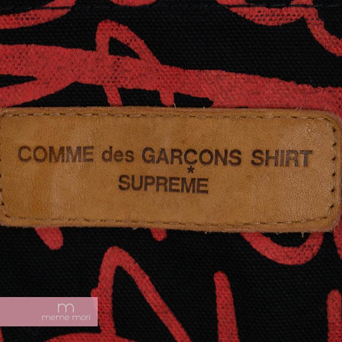 Supreme×COMME des GARCONS SHIRT 2018AW Painted Canvas Chore Coat シュプリーム×コムデギャルソンシャツ ペインテッドキャンバスチョアコート カバーオールジャケット ブラック×レッド サイズM 191020pick新古品I6b7Ygyvf