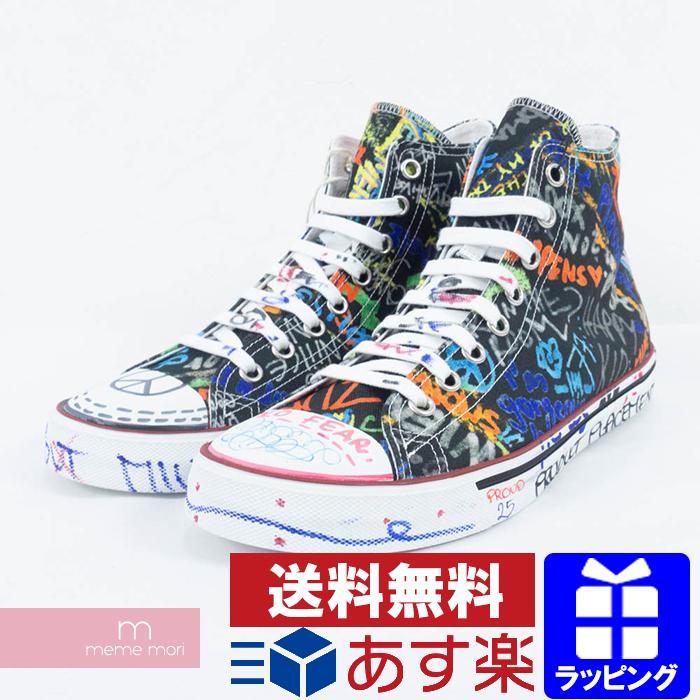 32039b041 VETEMENTS 2018SS Graffiti High Cut Sneaker vetomon塗鴨高cut 運動鞋黑色尺寸43(26.6cm)禮物禮物