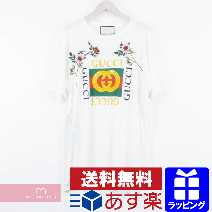 c731ced36ee GUCCI 2018SS Embroidered Flower Logo Tee Gucci flower logo embroidery T- shirt short sleeves damage processing white size XL present gift