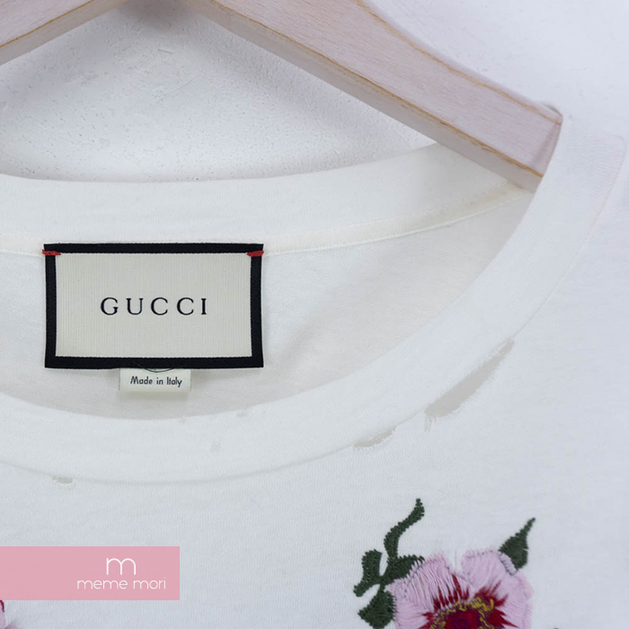 d88677ac ... GUCCI 2018SS Embroidered Flower Logo Tee Gucci flower logo embroidery T- shirt short sleeves damage