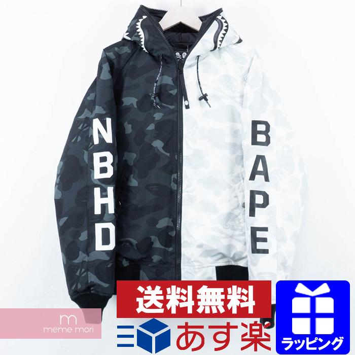 f6a83b80fe5 A BATHING APE X NEIGHBORHOOD 2018AW Camo Shark Zip Hooded アベイシングエイプ X Ney  bar Hood duck shark zip hooded parka down jacket full zip white X black ...
