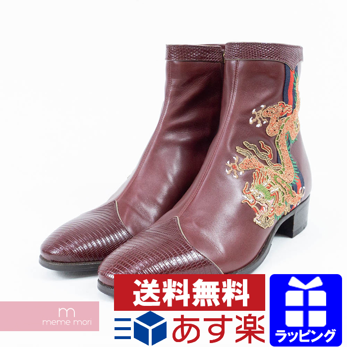 1251b6a81 GUCCI 2018AW Leather Boot With Dragon Gucci dragon applique leather ankle  boots side zip embroidery Bordeaux ...