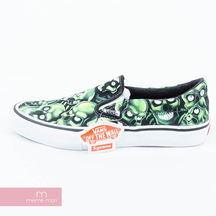 0454d2cdf0a11b Supreme X VANS 2018SS Skull Pile Slip On シュプリーム X vans scull slip-ons  sneakers shoes black X green size US9.5(27.5cm) present gift