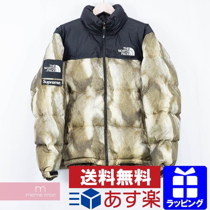 Supreme×THE NORTH FACE 2013AW Fur Print Nuptse Jacket シュプリーム×ノースフェイス ファープリントヌプシジャケット ジップアップダウンブルゾン ブラウン サイズM プレゼント ギフト【me04】【191122】【中古-B】