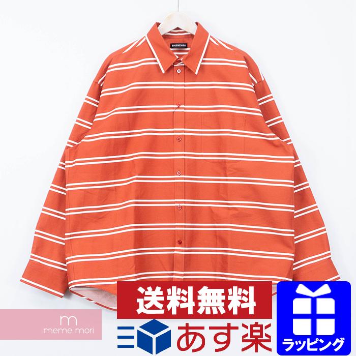 【全品15%OFF&クーポン!】BALENCIAGA Double Stripe Shirt 542174 TCL17 9030 バレンシアガ ダブルストライプシャツ ボーダー柄 オーバーサイズ レッド×ホワイト サイズ37【200111】【me04】