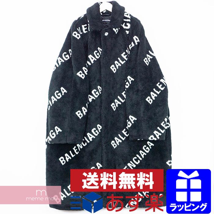 BALENCIAGA 2019AW Oversized Logo Faux Fur Coat 595827 TGQ02 バレンシアガ オーバーサイズロゴフェイクファーコート 中綿ロングコート ブラック サイズ46 【200220】