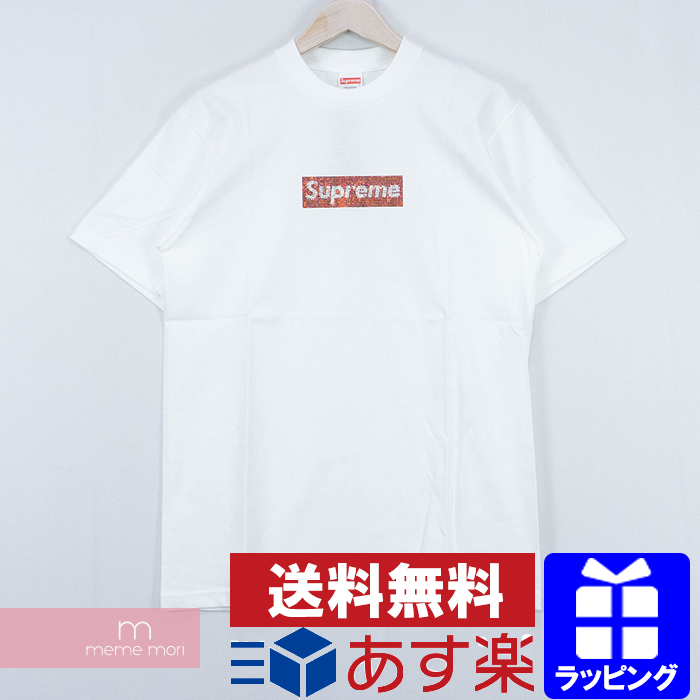 Supreme×Swarovski 2019SS 25th Anniversary Box Logo Tee シュプリーム×スワロフスキー 25周年記念ボックスロゴTシャツ 半袖 カットソー ホワイト サイズS 【200303】【中古-A】