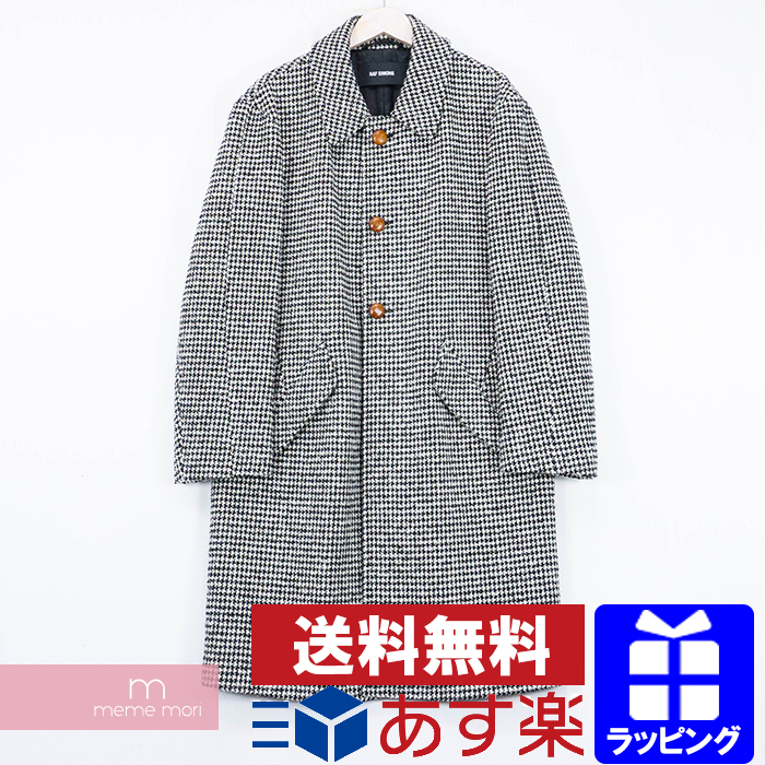 RAF SIMONS 2015AW Big coat with contrast stitches and leather button ラフシモンズ コントラストステッチビッグコート ハウンドトゥース 千鳥格子 ホワイト×ブラック サイズ46 【200308】【中古-B】【me04】
