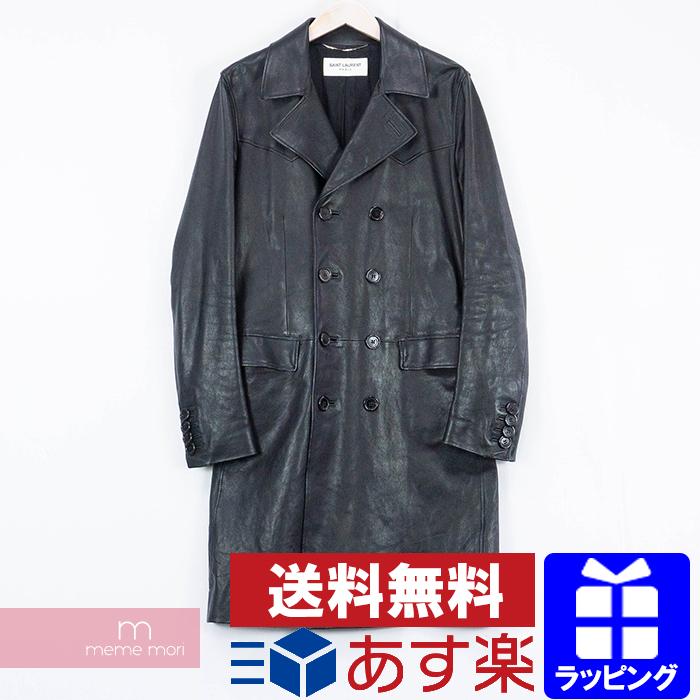 SAINT LAURENT PARIS 2014 Long Leather Coat 374551 Y5HC1 サンローランパリ レザーロングコート ラムレザー ブラック サイズ46 【200313】【中古-B】