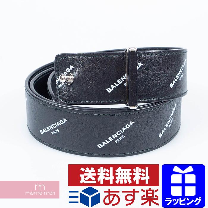 BALENCIAGA Logo Print Leather Belt バレンシアガ ロゴプリントレザーベルト 総柄ロゴ ブラック サイズ85【200322】【中古-B】【me04】