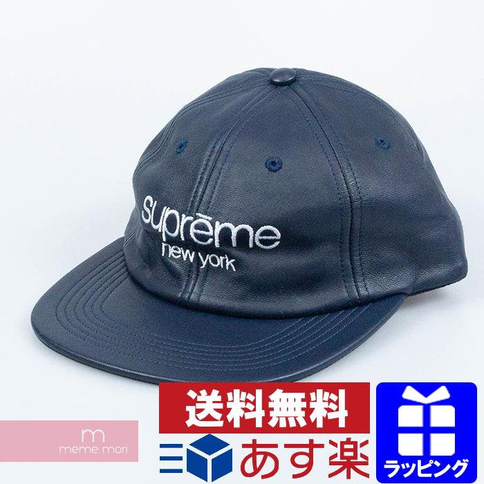 Supreme 2016AW Leather Classic Logo 6-Panel Cap シュプリーム レザークラシックロゴ6パネルキャップ 切替 ネイビー 【200404】【新古品】【me04】