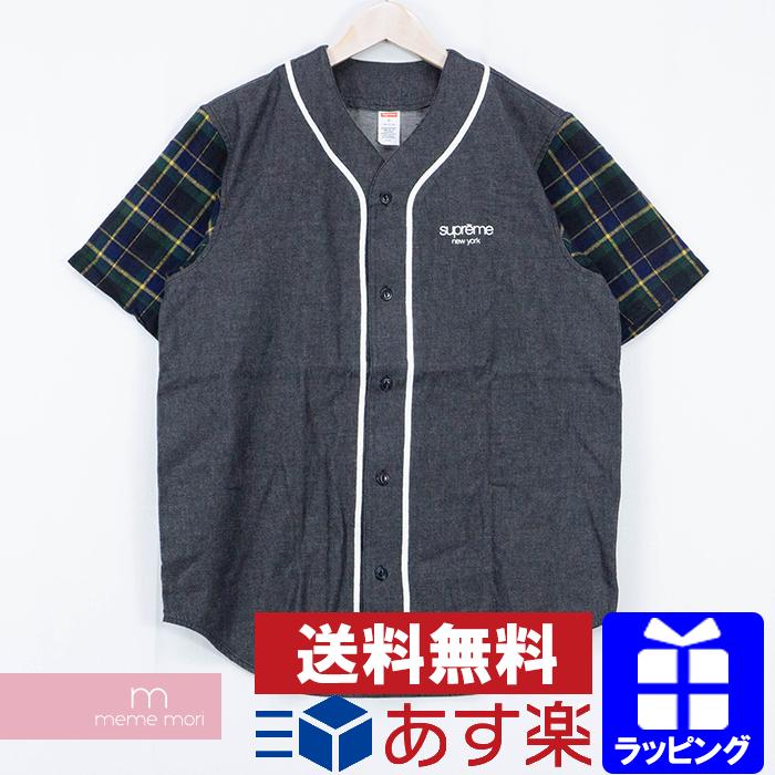 【全品15%OFF&クーポン!】Supreme 2014SS Denim Flannel Baseball Shirt シュプリーム デニムフランネルベースボールシャツ 半袖シャツ ブラック×ネイビー サイズS【200409】【新古品】
